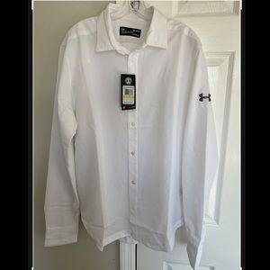 UNDER ARMOUR White Long Sleeve Dress Shirt